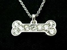 Dog Bone Pendant Women Clear Austrian Crystal Necklace Silver Plated New