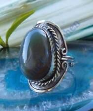 Anello alpaca argento pietre agata grigio etnico indiana stile 057
