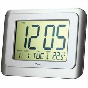 RAVEL WALL/DESK JUMBO DIGITAL ALARM CLOCK SILVER/WHITE RCD003.1
