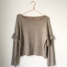 ZARA Women Crop Knit Jumper Sweater UK8 10 Stretch Oatmeal Boat Neck Ruffle Slv