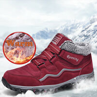 Mens Womens Waterproof Leather Winter Hiking Boots Warm Fur Inside Running Shoes