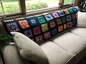 VTG Handmade Crochet Black Granny Square Sofa Back Throw Afghan Lap Blanket