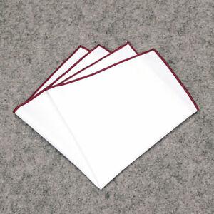 Men Formal Party Cotton Blazer Suit Pocket Square White Handkerchief Hankies