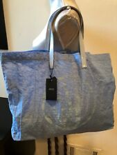 NEW ARMANI JEANS LIGHT BLUE Large Tote Bag Nylon Patent Leather Handbag Purse