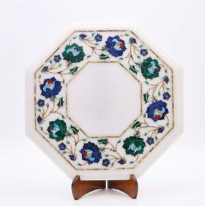 White Marble Coffee Table Top Lapis Turquoise Marquetry Inlay Interior Décor Art