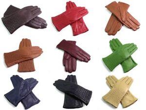 Ladies Womens Premium Quality Genuine Super Soft Leather Gloves Fur Lined Warm