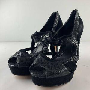 White House Black Market Misty 7.5 M Black Heel Snakeskin Suede Leather Shoe