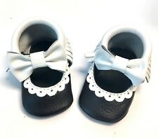 Black & White Genuine Leather First Steps Baby Mary Jane Moccasins Shoes Size 2