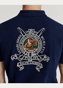 Polo Ralph Lauren Men's Custom Slim Fit Crest Shirt Navy Blue NEW $165