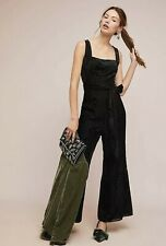 Anthropologie Black Velvet Burnout Jumpsuit - Size 10