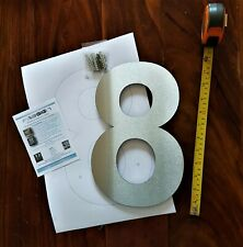 """Extra large 12""""or 6"""" floating Arial house numbers 2mm brushed stainless steel"""