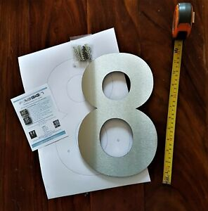 "Extra large 12""or 6"" floating Arial house numbers 2mm brushed stainless steel"