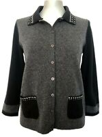 NEW, LUISA CERANO GRAY WOOL CARDIGAN WITH SPARKLE ACCENTS, 4, $345