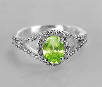 925 Sterling Silver Ring Natural Green Peridot Split Shank Engagement Sz 4-11