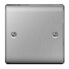 Masterplug Nbs94 1 Gang Metal Brushed Steel Blank Plate
