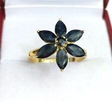 14k Solid Yellow Gold Cluster Flower Ring Natural Sapphire, Sz 8.25. 2.70 Grams
