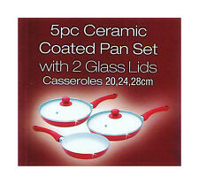 RED 5PC NON STICK CERAMIC COATED FRYING PAN SET 2 GLASS LIDS ALUMINIUM COOKING