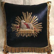 """Vin. Silver & Gold Metallic """"Agnus Dei"""" Lamb Pillow on Royal Blue Silk Velvet"""