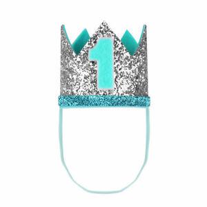 Baby Boy Girls 1st Birthday Sparkly Party Crown Hat Elastic Headband Photo Props