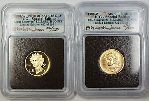 1988-W Proof & UNC $5 Olympic Gold Commem Autographed 2 Coin Set ICG MS-70 PF-70