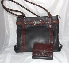 BRIGHTON Black Pebbled Leather & Brown Croc Embossed Woven Handle Tote Bag