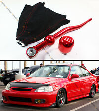 88-00 HONDA CIVIC RED DUAL BEND SHORT SHIFTER+ RED TYPE-R SHIFT KNOB+ SUEDE BOOT