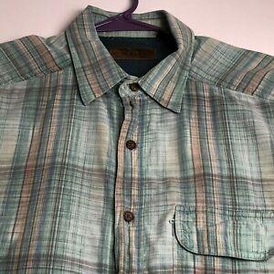 Morgan Creek Men Short Sleeve Button Up Shirt Large L Blue Orange Plaid Vented