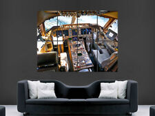 BOEING AIRBUS  COCKPIT AEROPLANE 747 JUMBO HUGE LARGE WALL ART POSTER PICTURE