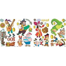 JAKE AND THE NEVERLAND PIRATES  wall stickups 32 decals treasure Captain Hook