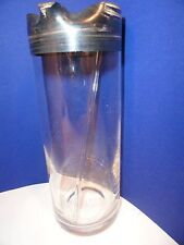 Vintage Glass Cocktail Pitcher with Stirrer Silver-Color Trim Mid-Century Style