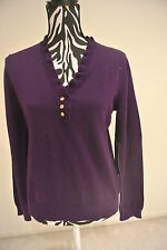 NWT.Ladies' ralph lauren ruffle v-neck knitted long sleeve sweater;M