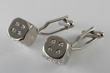 DESIGNER SILVER PLATED BRASS & RHINESTONE DICE CUFFLINKS MEN'S JEWELRY NWOT