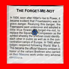 MASONIC FORGET-ME-NOT:WORLD WAR 2(II)LAPEL PIN TIE TACK,FREE MASONS FREEMASON,EX