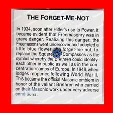 MASONIC FORGET-ME-NOT:WORLD WAR 2(II)LAPEL PIN TIE TACK,FREE MASONS FREEMASON,EX