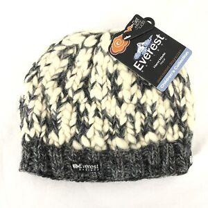 Everest Kids Beanie Hat Wool Knit Fleece Lined Ivory Gray Size 5-12