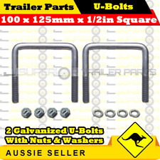 2 X U-bolts 100mm X 125mm Square With Hex Nuts Galvanized
