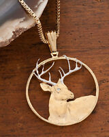 """White Tail Deer Pendant and Necklace,Hand Cut Buck , 1 1/4"""" in Dia.,( # 914  )"""
