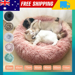 Pet Cat Dog Calming Bed Warm Soft Plush Round Nest Comfy Sleeping Kennel Cave E