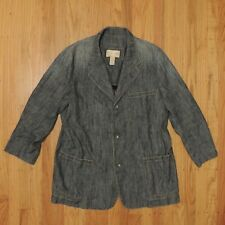 The Territory Ahead Blue Denim Style Linen Blend Blazer Jacket Womens Size Large