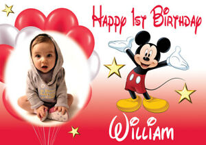 LARGE BIRTHDAY MICKEY MOUSE POSTER BANNER PERSONALISED WITH PHOTO TEXT NAME