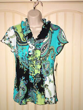 Larry Levine Blouse w/Ruffled Neck&Front Turquoise/Lime/Black/White SZ SMALL NWT