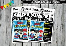 SUPERHERO PERSONALISED INVITATIONS CARDS BIRTHDAY INVITES BATMAN SPIDERMAN
