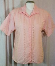 NWT Womens Size L Eyelet Button Down Top Shirt Short Sleeve Pink 19th Avenue