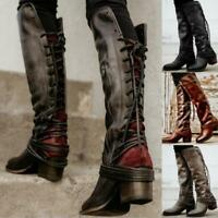UK Womens Vintage Tassel Lace Up Knee High Boots Motorcycle Ridding Boots Shoes
