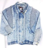 Vintage Acid Wash Denim Coat Jean Jacket 80s Style Bomber Trendy Size Large L