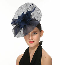 Newest Women's Large Sinamay Fascinator Headband Cocktail Hat Navy BLue