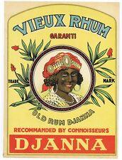 Old Rum Djanna large case size label / sign black woman