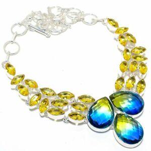 "Bi-Color Tourmaline, Citrine Silver Jewelry Necklace 18"" MQR-3165"