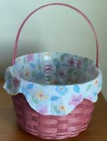 Longaberger Pink Oval Spring Basket W/ New Protector & New Floral Blooms Liner.