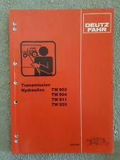 DEUTZ FAHR TRACTOR TW903/904/911/920 TRANS HYDRAULICS SERVICE TRAINING MANUAL